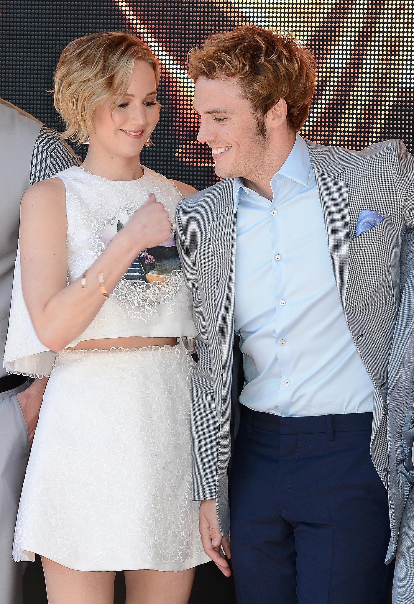 Jennifer and Sam Claflin shared a smiley moment.