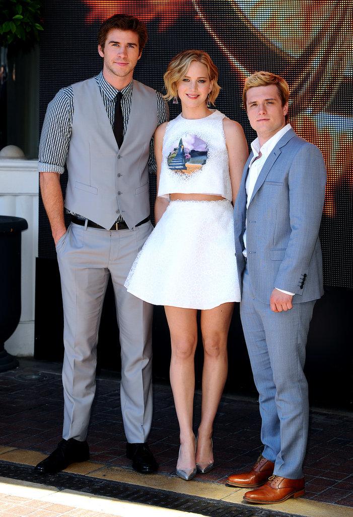 Hunger Games costars Liam Hemsworth, Jennifer Lawrence, and Josh Hutcherson reunited on Saturday.