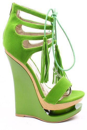 GREEN FAUX SUEDE OPEN TOE LACE UP DOUBLE PLATFORM WEDGE HEELS