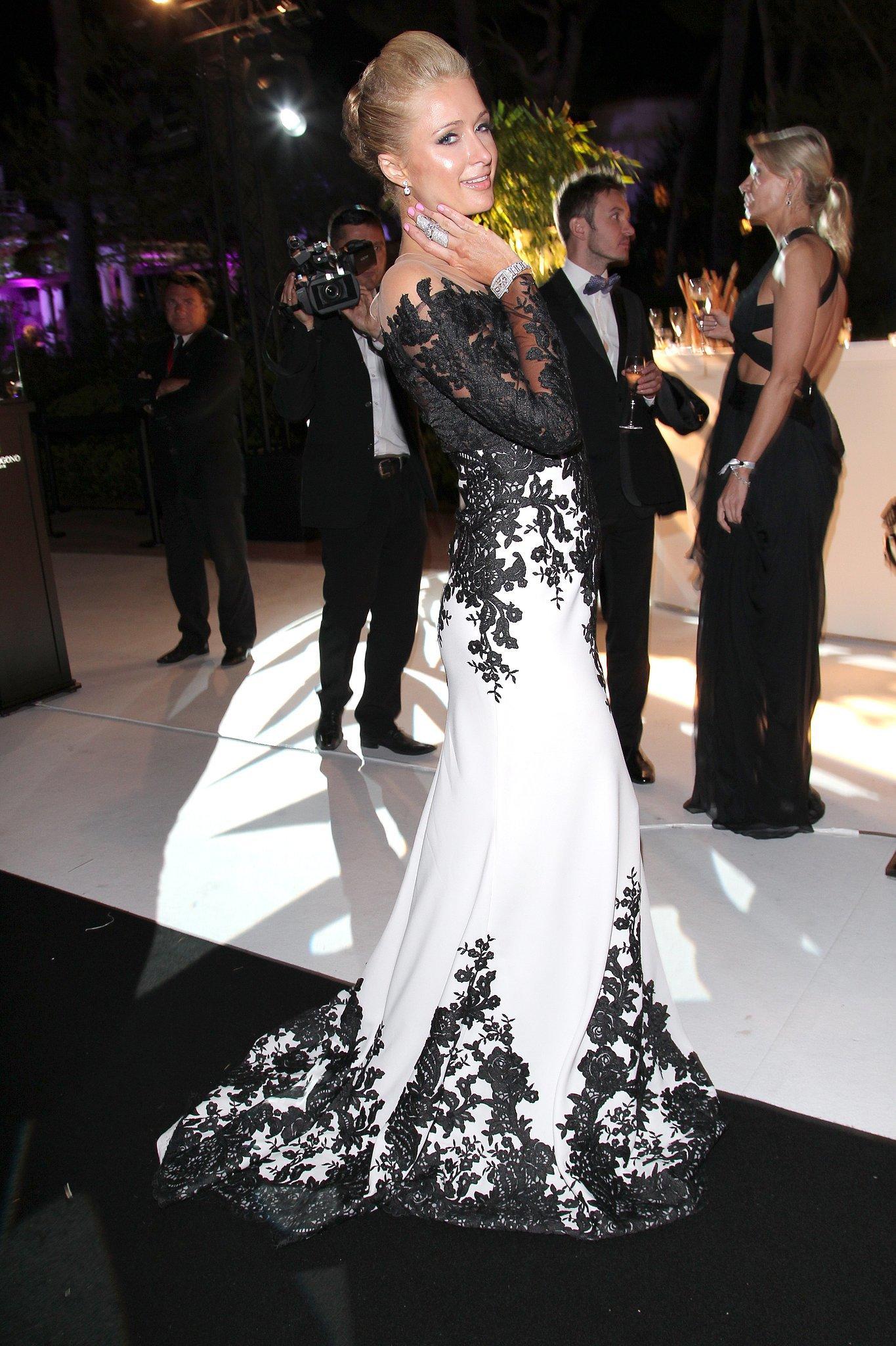 Paris Hilton wore black and white.
