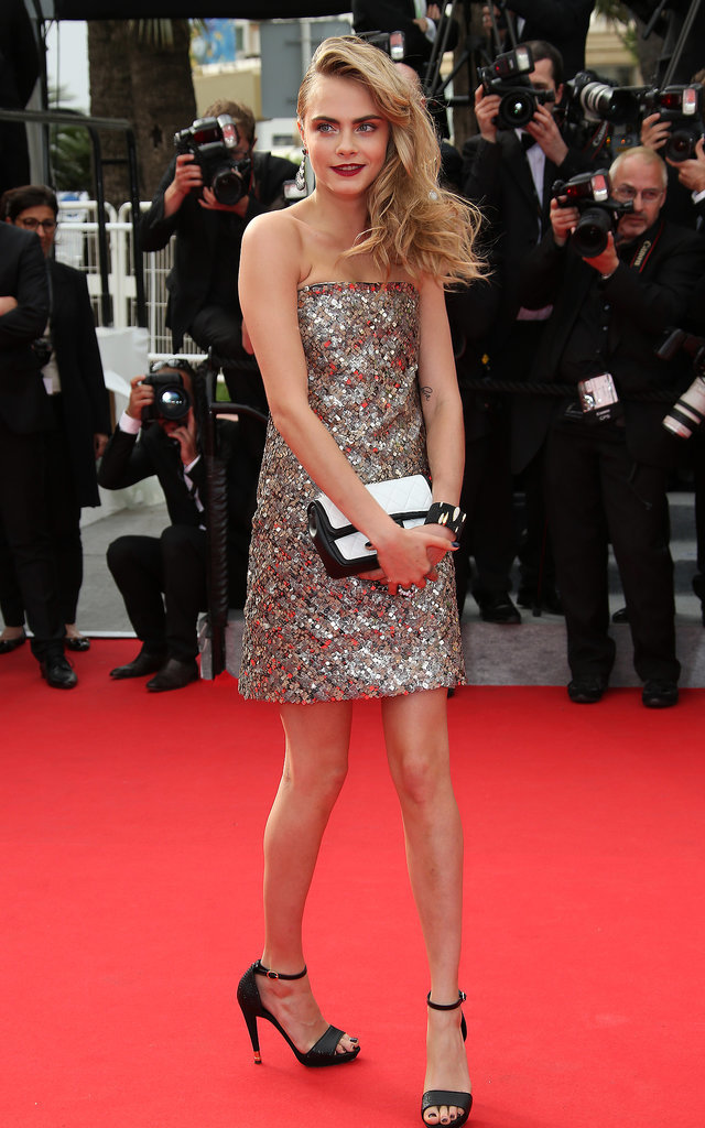 Cara Delevingne dazzled in a metallic frock at the premiere of The Search.