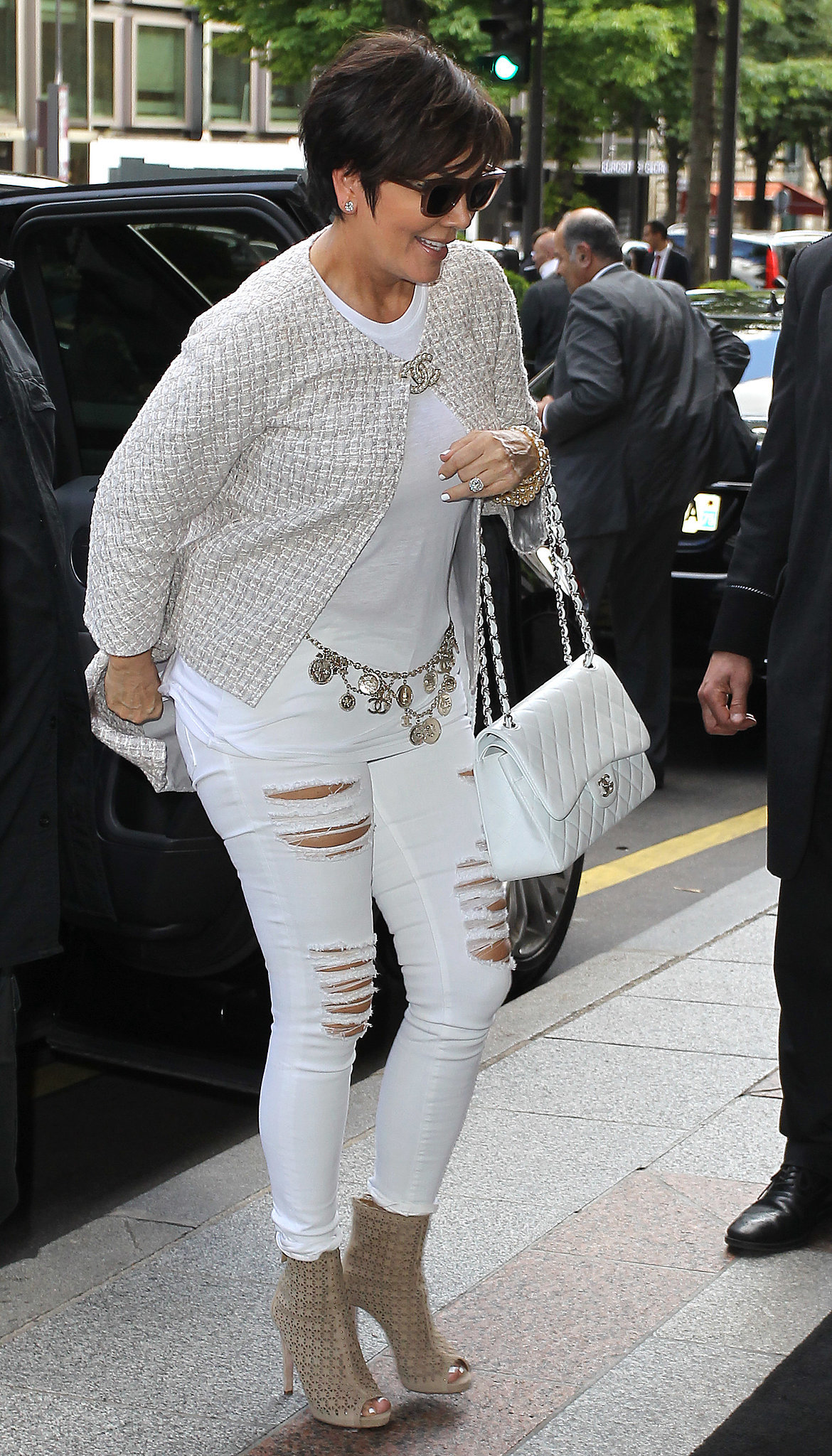 Kris Jenner arrived at the George V Hotel on Thursday after a day on the town.