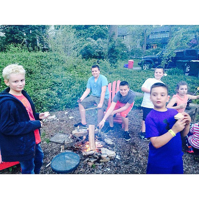 Jenny McCarthy's son, Evan Asher, got into the Summer spirit with an old-fashioned campfire with his friends in Chicago. Source: Instagram user jennyannmccarthy