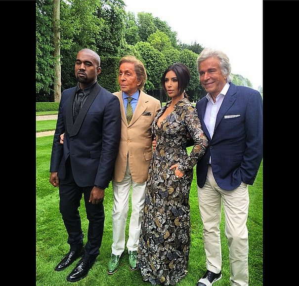 When Kim and Kanye arrived at Valentino's mansion, they snapped pictures in the gardens. Source: Instagram user privategg