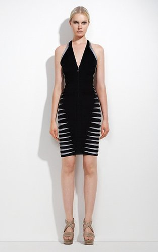 Herve Leger Halter Color Blocked Black Grep Bandage Dress 2014Outlet
