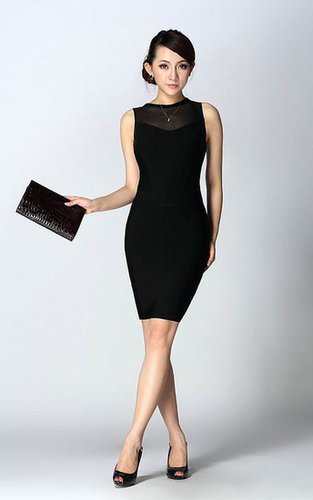 Herve Leger High Crew Neck Black Bandage Dress On SaleOutlet