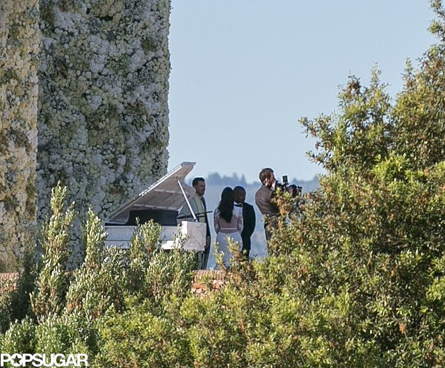 A view of Kim's wedding dress from the back during her ceremony.