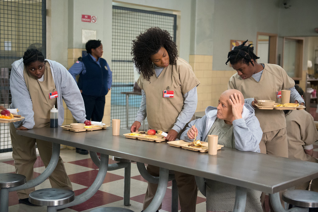 The gang checks out the cafeteria. Source: Netflix