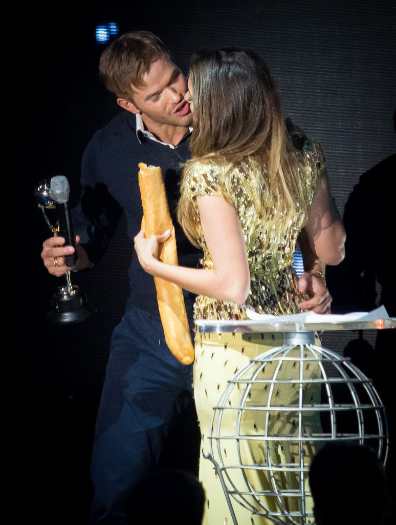 Kellan Lutz and Nina Dobrev had a funny moment with a baguette at the World Music Awards on Tuesday in Monte Carlo.
