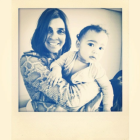 "Carine Roitfeld shared a snap of herself with North, saying, ""Baby North and her new 'nanny' Lovely little girlxxx."""