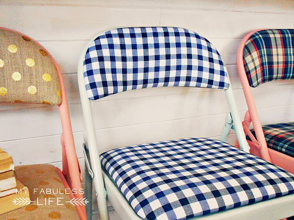 Turn folding chairs into statement furniture with this DIY chair tutorial. Source: My Fabuless Life