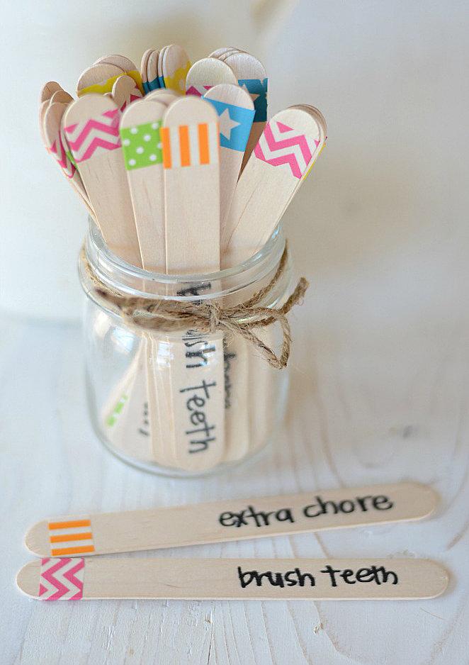 Washi Tape Chore Sticks