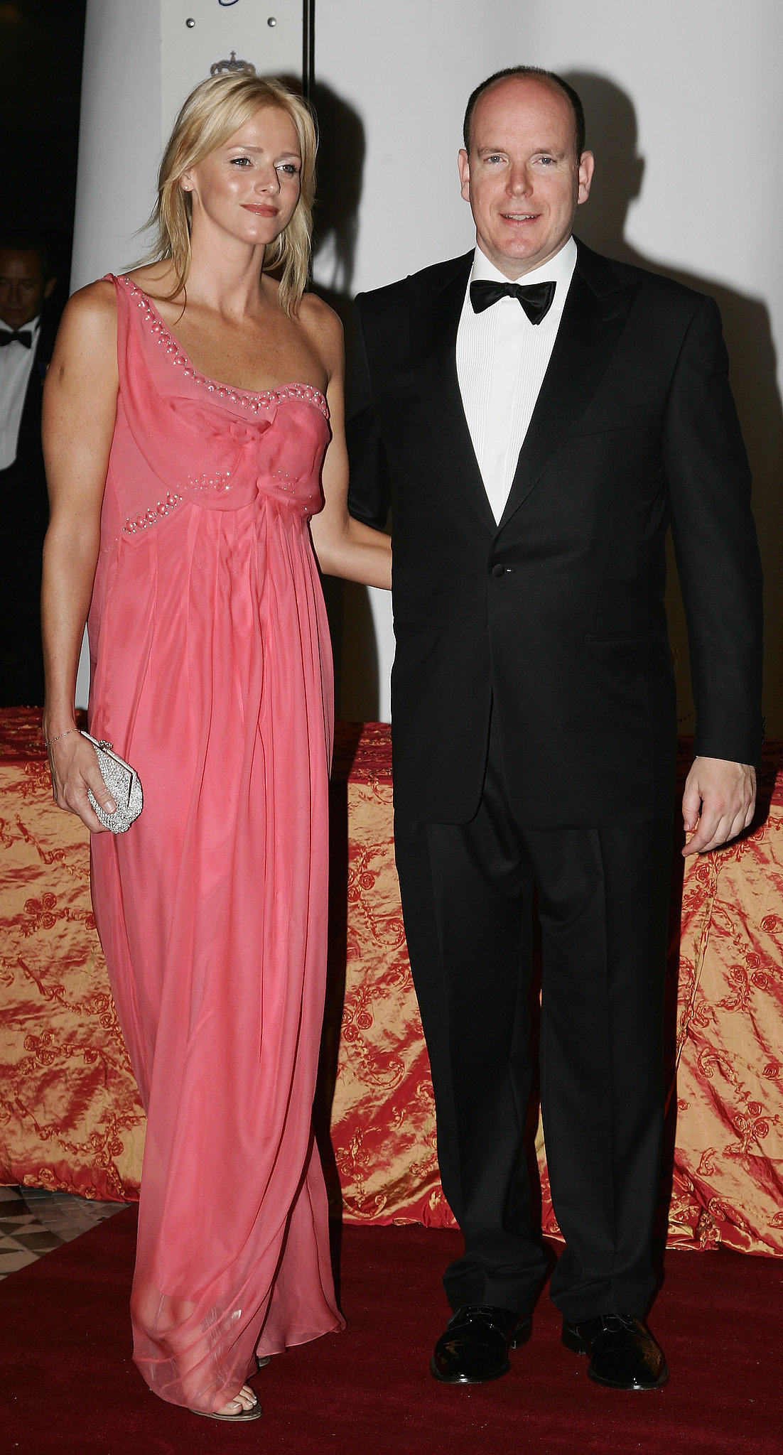 Looking fresh-faced, Princess Charlene posed for pictures alongside Prince Albert at the gala dinner of the Monaco Formula One Grand Prix in May 2007.