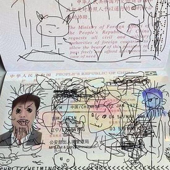 Child Draws on Dad's Passport
