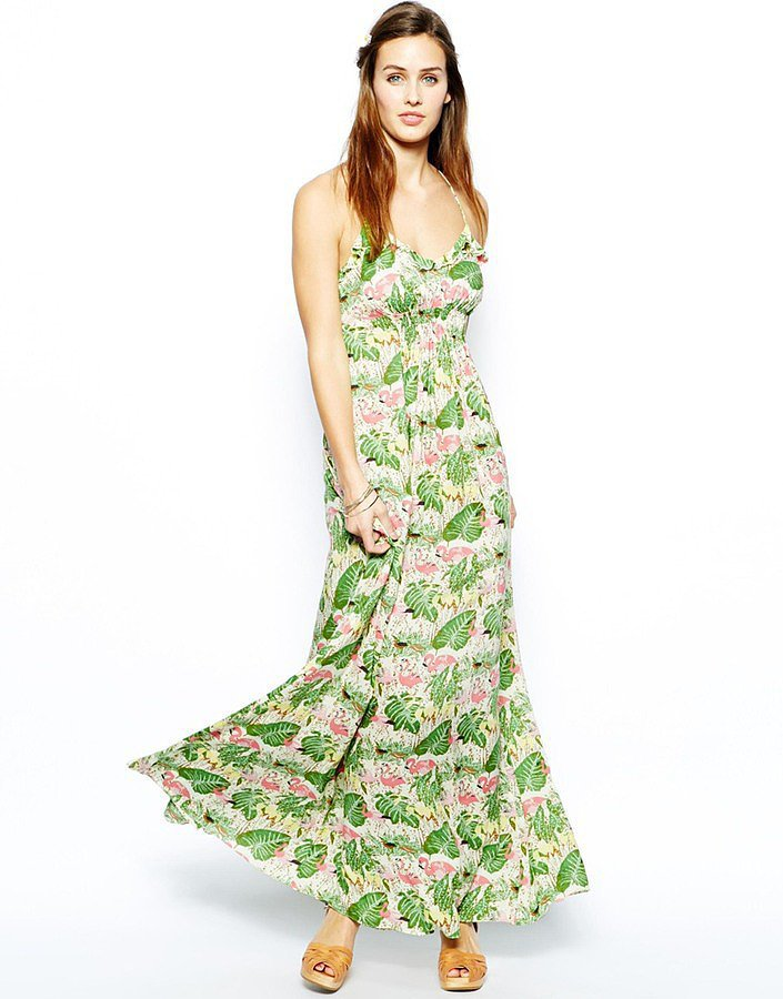 Traffic People Flamingo-Print Maxi Dress