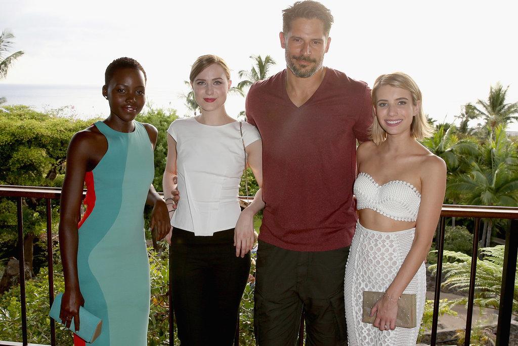 Lupita Nyong'o, Evan Rachel Wood, Joe Manganiello, and Emma Roberts posed at the Maui Film Festival on Wednesday.