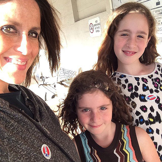 Poet and Jagger Goldberg joined their mom, Soleil Moon Frye, at the voting booth. Source: Instagram user moonfrye