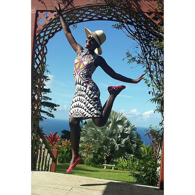 Lupita Nyong'o jumped around on vacation. Source: Instagram user lupitanyongo