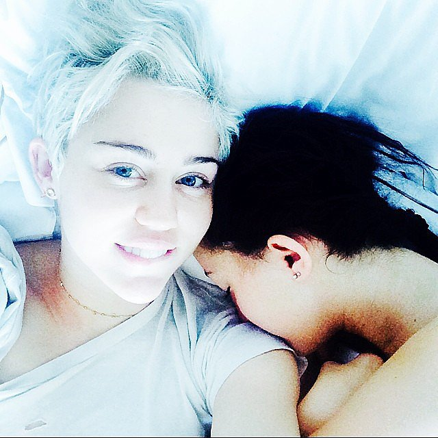 Miley Cyrus snuggled with her sister Noah. Source: Instagram user mileycyrus