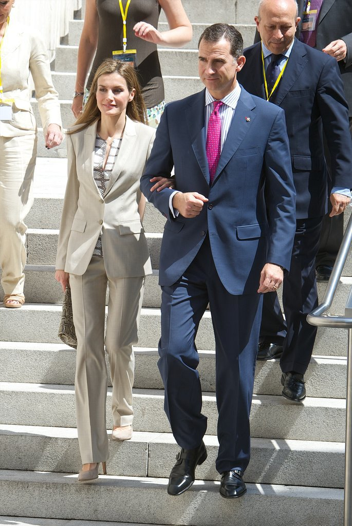 Spanish royals Prince Felipe and Princess Letizia stepped out at the Archaelogical Museum in Madrid on Thursday.