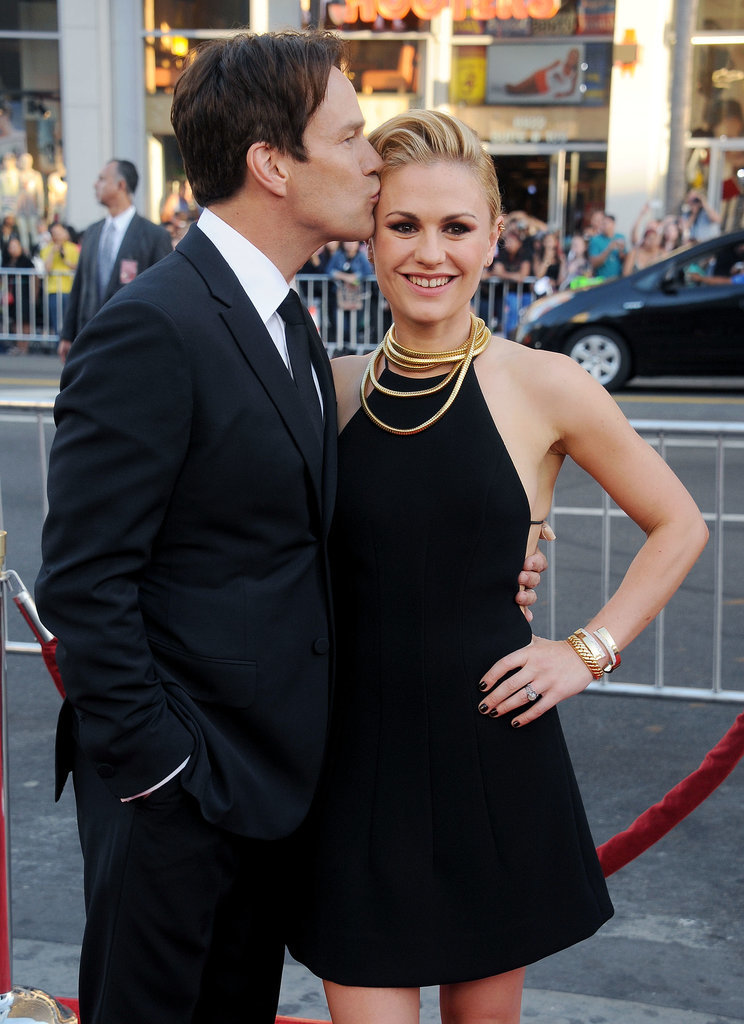 Anna Paquin and Stephen Moyer had a sweet moment at True Blood's seventh and final season premiere in LA on Tuesday.