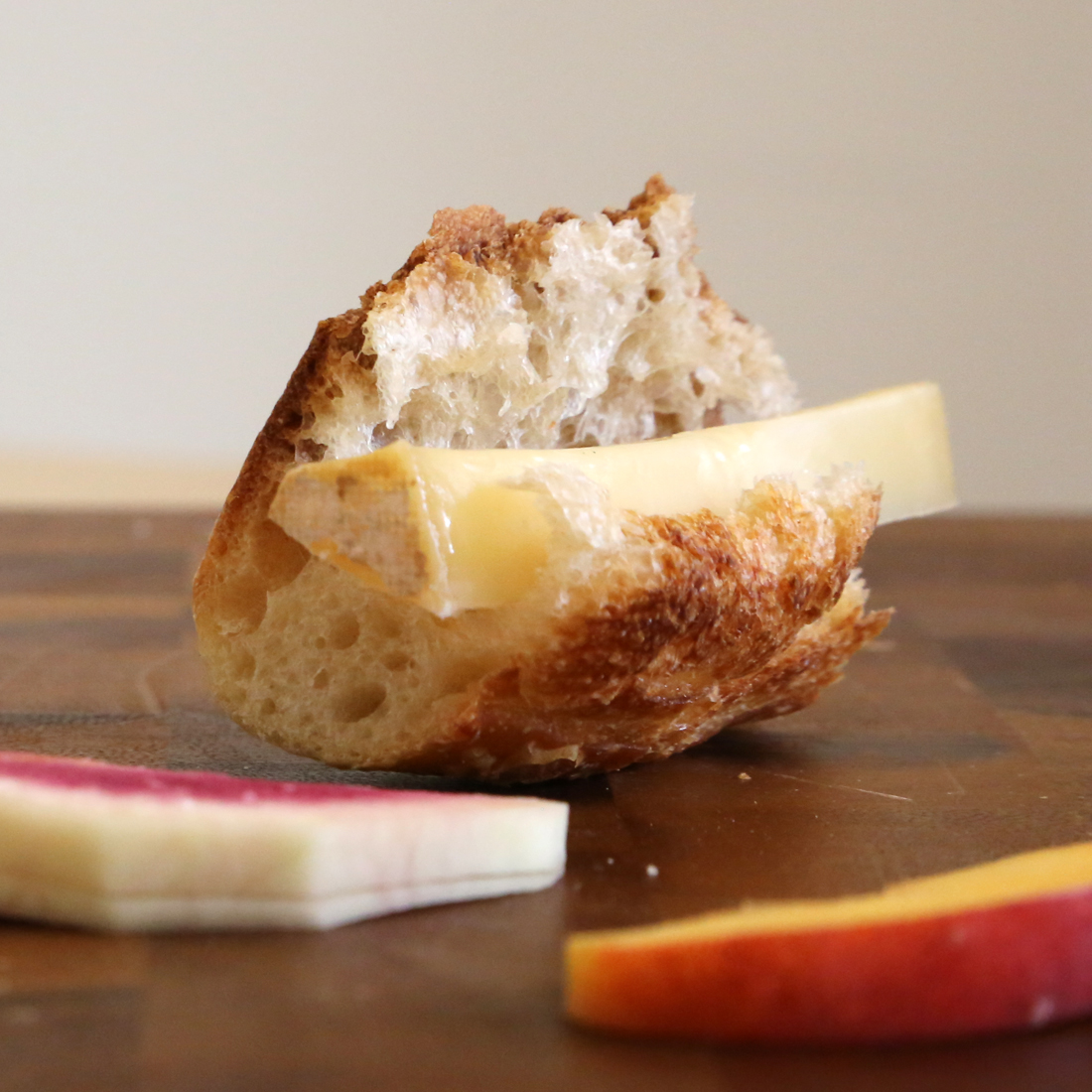 Cheese, Bread, and Fruit