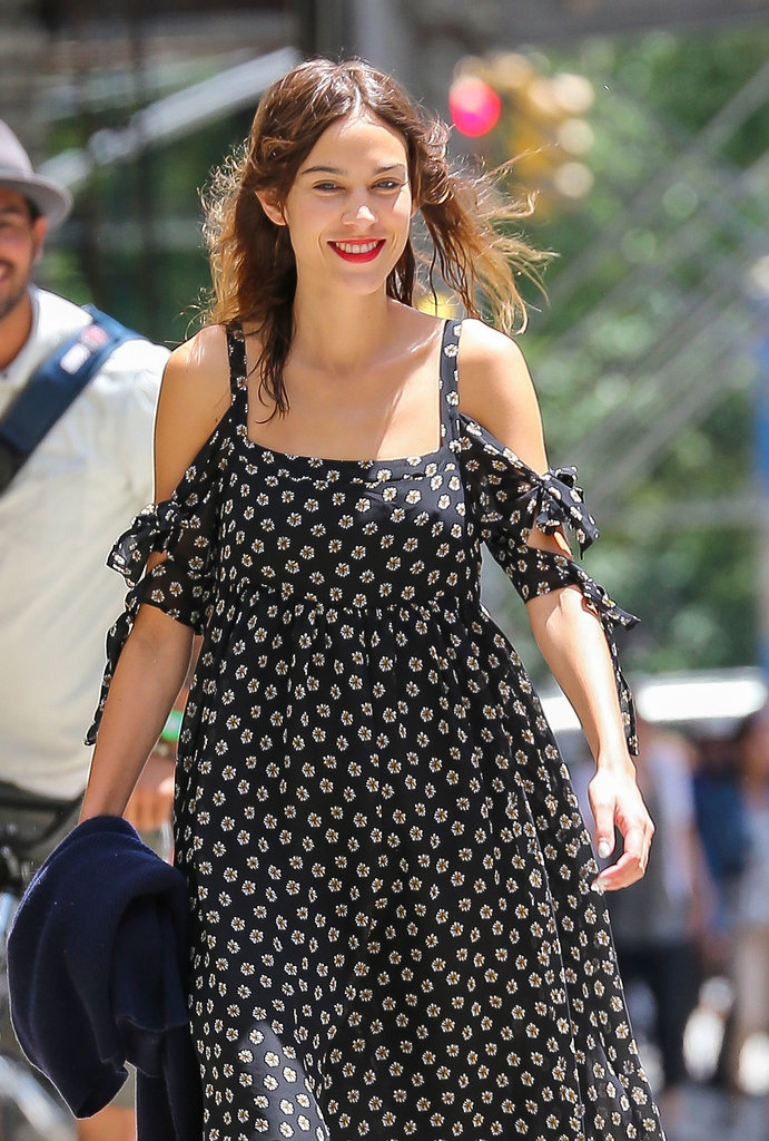 Alexa Chung was wide-eyed and happy during a sunny stroll in NYC on Saturday.