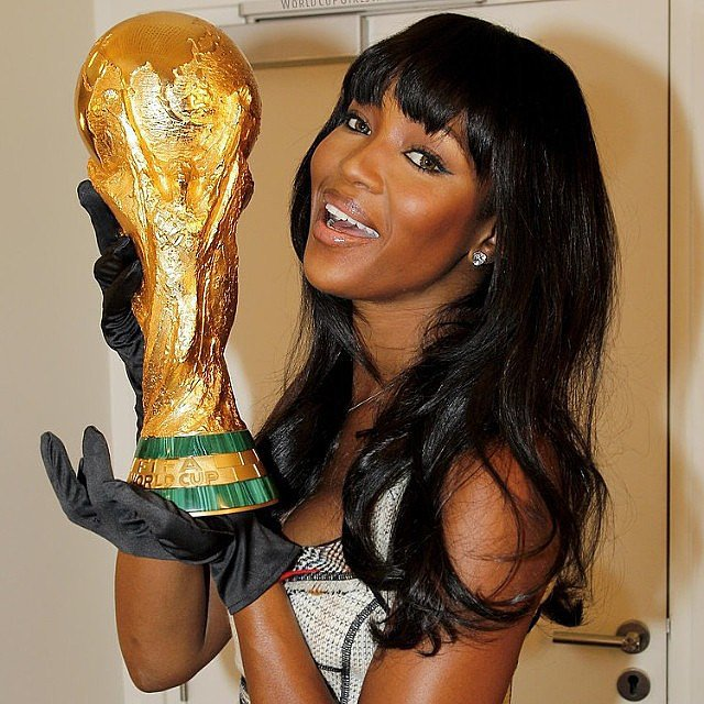 Naomi Campbell cheered on Brazil by posing with a World Cup trophy.  Source: Instagram user iamnaomicampbell