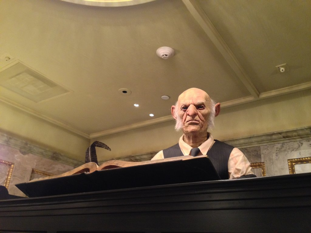 At Gringotts Money Exchange you can exchange your muggle money for Gringotts bank notes. You can also speak with an interactive animatronic goblin. The goblins are incredibly lifelike — it's a bit creepy.