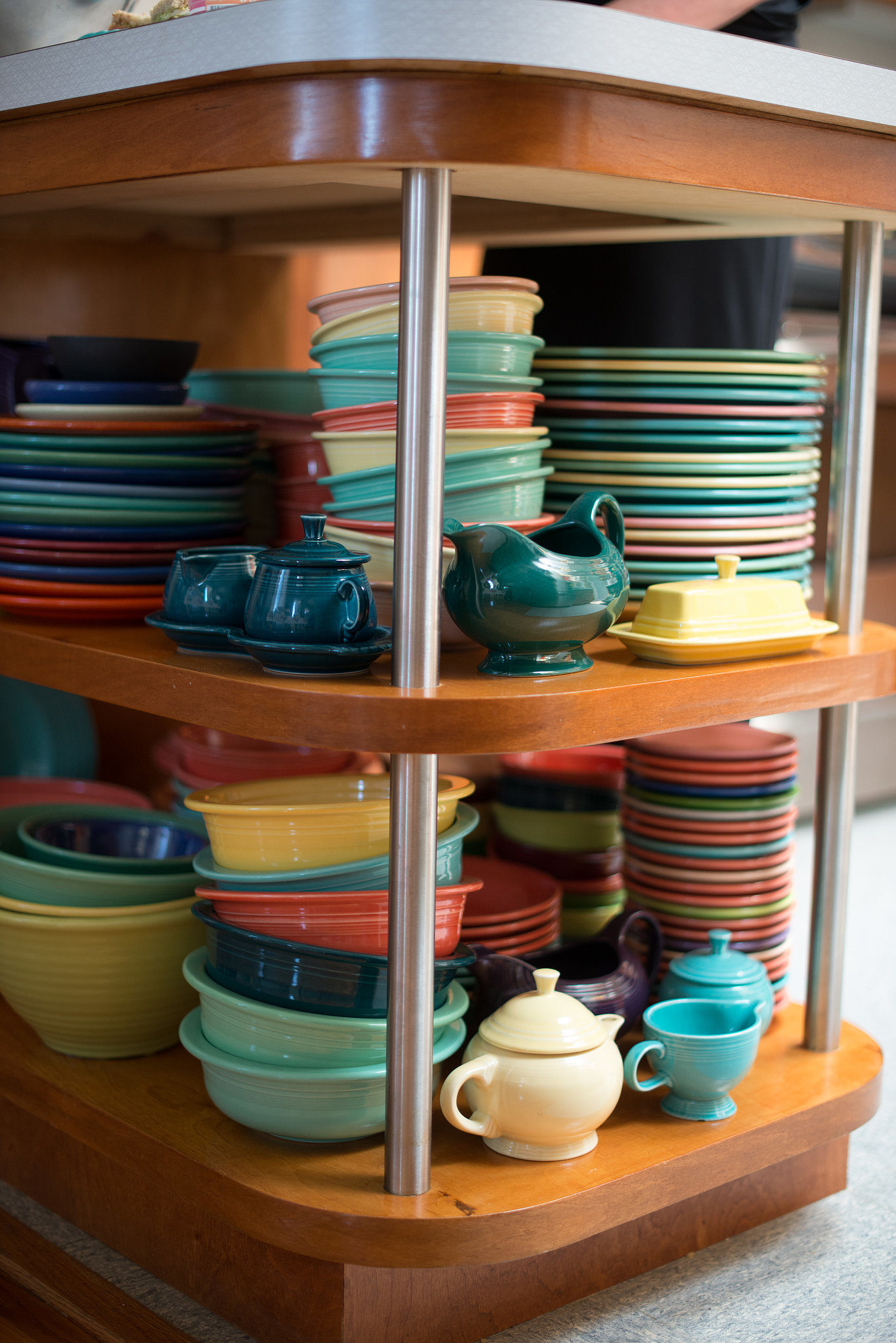 PS: What a vibrant dishware collection! What's the story behind it? KFP: It's all American made and from about 1930 to 1960. My husband, Bjorn's, favorite is Bauer, mine is Catalina, but there are so many pieces we have that aren't any known brand and they are just as beautiful.  Source: Kristen Loken