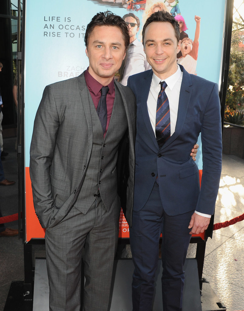 Zach Braff and Jim Parsons posed together at Monday night's Wish I Was Here premiere in LA.