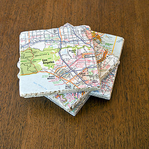 Upcycled Map Tile Coasters