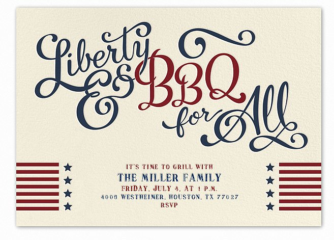 If you're throwing a party for the Fourth of July, this liberty and barbecue card (free) is a great way to honor the stars and stripes.