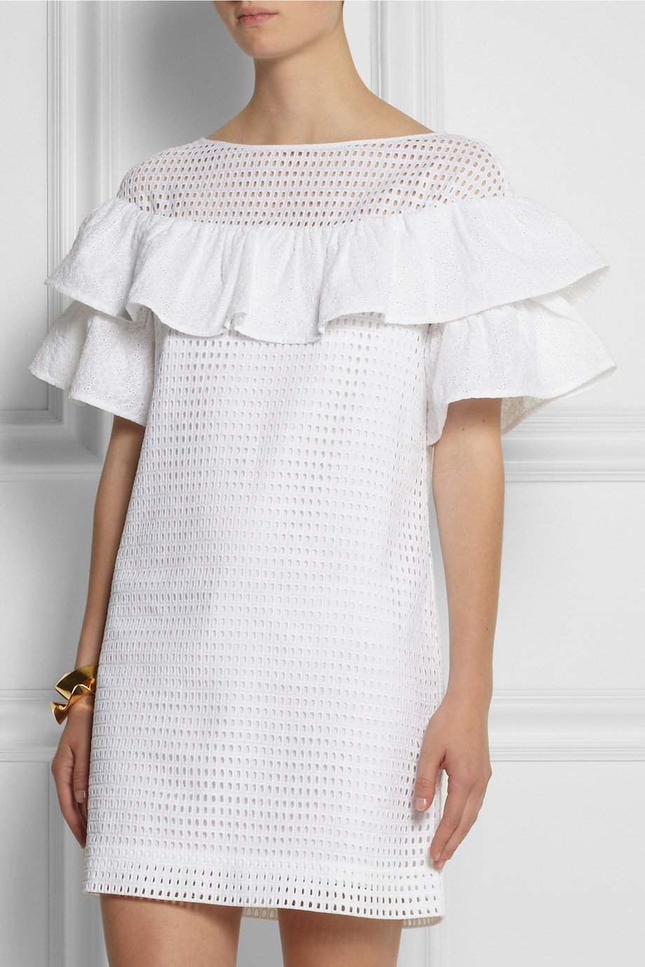 J.Crew Collection Ruffled Broderie Anglaise Cotton Minidress