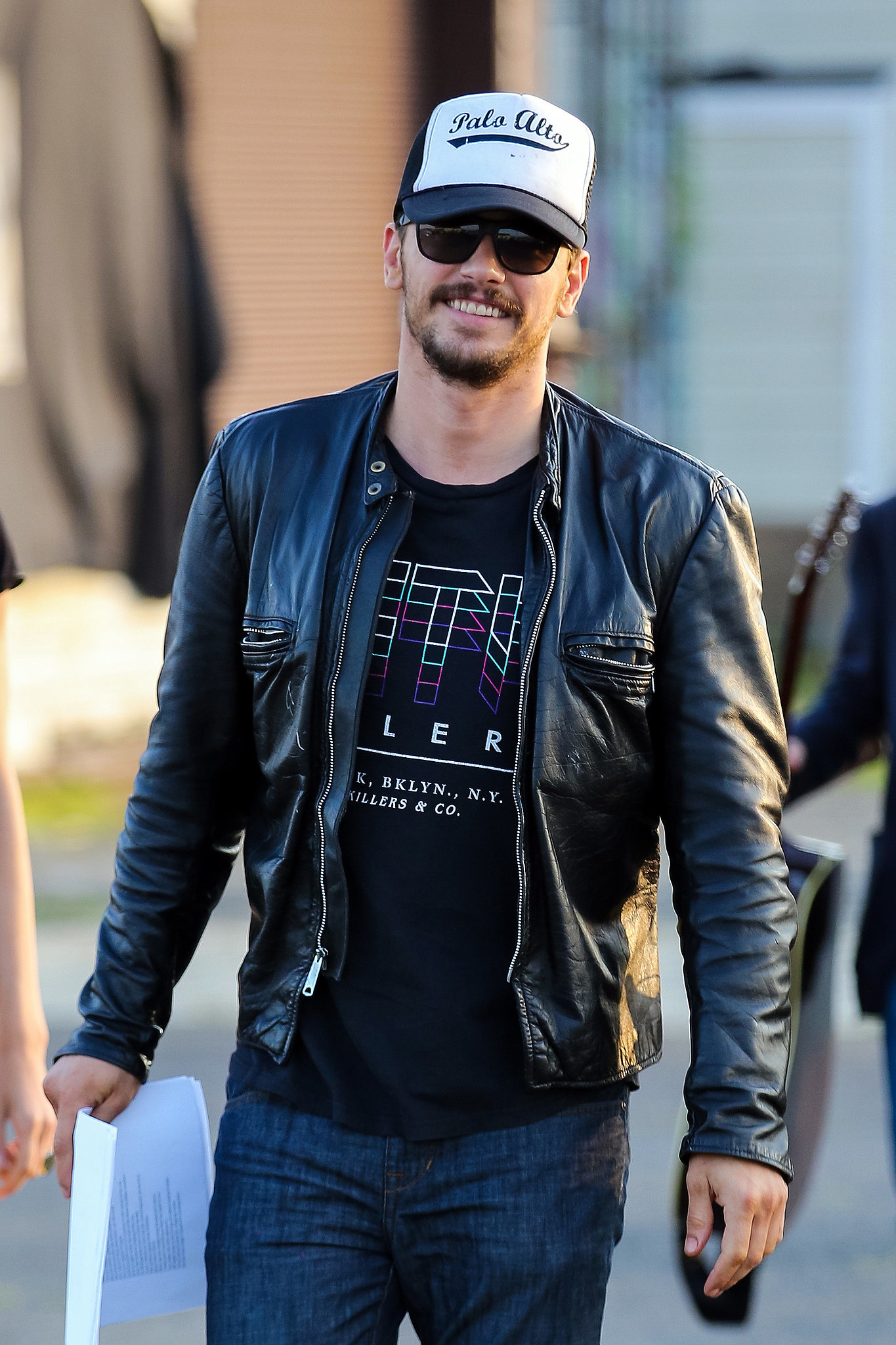 James Franco was all smiles in New York before a poetry reading on Sunday.