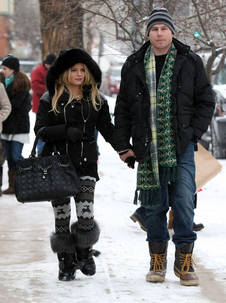 Jessica and Eric bundled up for a snowy stroll in Aspen in January 2010.