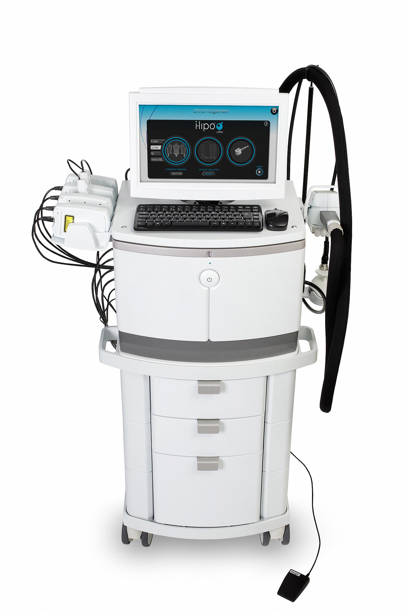 """How Does It Work? i-Lipoxcell uses laser technology to zero in on fat. A dual wavelength of red light penetrates the fat cells in a targeted area and pops them open, which allows the fatty acid contents to leak out like air escaping from a balloon. This technique causes the same physiological response of a fat cell that occurs when you diet and exercise, except instead of running, lifting weights, or climbing stairs to burst open your fat cells and deflate them, i-Lipoxcell uses its signature red light. """"That means this process is completely natural and is something your body expects to happen, which is why this works so well,"""" explains Dr. Heskett. """"We're working with the natural functions of the body."""" The result is fat loss that can range anywhere from a quarter of an inch up to three inches in one 20 minute session, depending on how much fat you have to lose. """"Still, heavier people don't necessarily do better than thinner people,"""" Dr. Heskett assures. """"There are visible results on patients of every size.""""  The reason for such successful results? Although you're burning just 300 calories (about the equivalent of a bagel and cream cheese) in one appointment, which you could achieve in a single workout session without a problem, the difference is that the i-Lipoxcell laser burns those calories from a concentrated area as opposed to all over your body like with traditional exercise, which is why you're able to see results in that specific region immediately. """"The calories you're burning at the gym could be from your glycogen source, which would not be from your fat at all, but this is specifically targeting fat,"""" says Dr. Heskett. """"Every little fat cell balloon in that precise area is dumping its contents during the treatment and shrinking, which is how you lose the inches."""" What Happens When You Go in For the Treatment? For starters, the i-Lipoxcell includes four laser paddles and two circulation probes. First, Dr. Heskett positioned the four paddles around the per"""