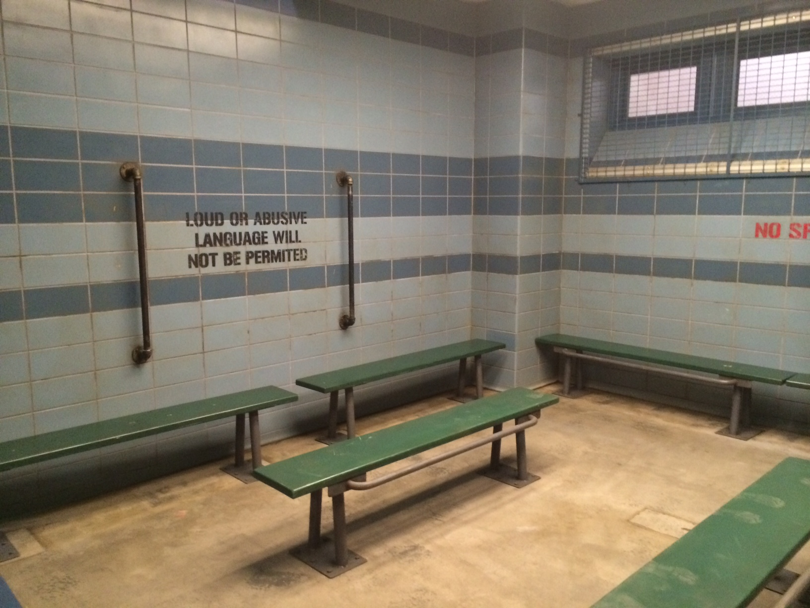 I haven't been in an actual holding cell, but this looks pretty accurate.