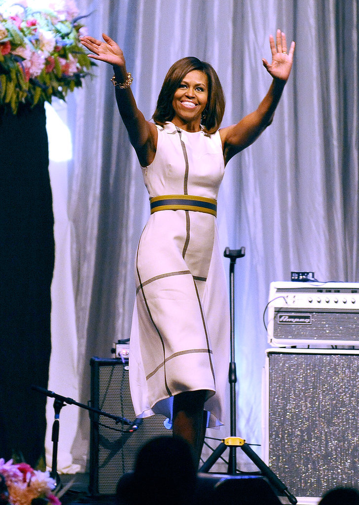 First Lady Michelle Obama waved at the Grammy Museum's Jane Ortner Education Award luncheon on Wednesday in LA.