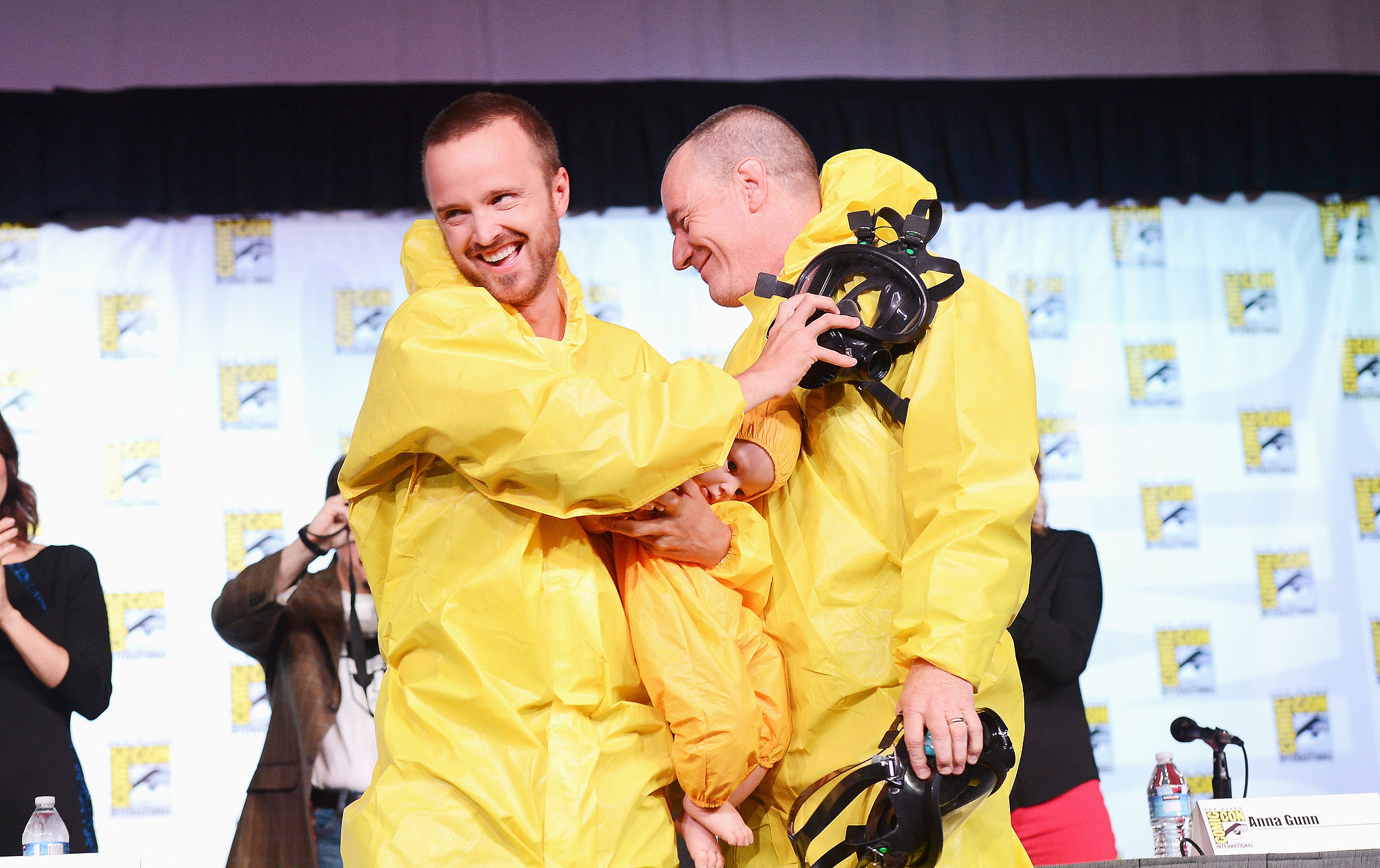Aaron Paul and Bryan Cranston channeled their Breaking Bad characters at the show's press conference in 2012.