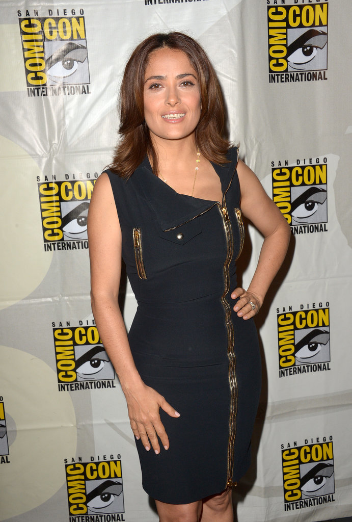 Salma Hayek struck a pose before a panel for her movie Everly on Friday.