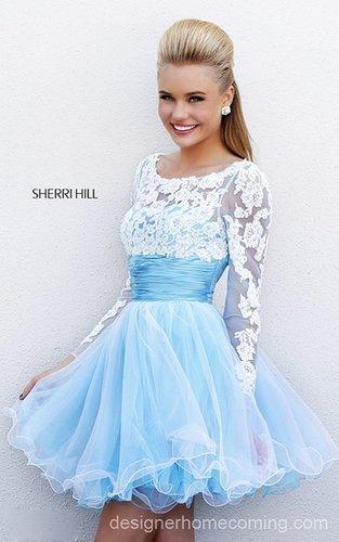 2014 Blue White Sherri Hill 21234 Homecoming Dress Short