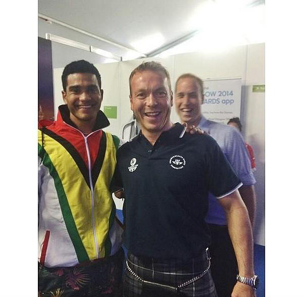 Prince William photobombed cyclist Chris Hoy at the Commonwealth Games.