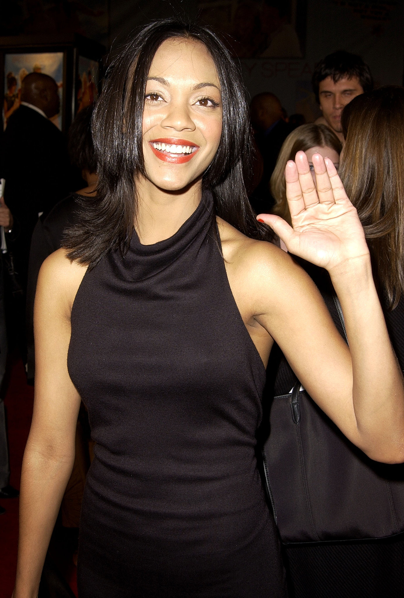 And Zoe Saldana gave a sweet wave to the cameras.