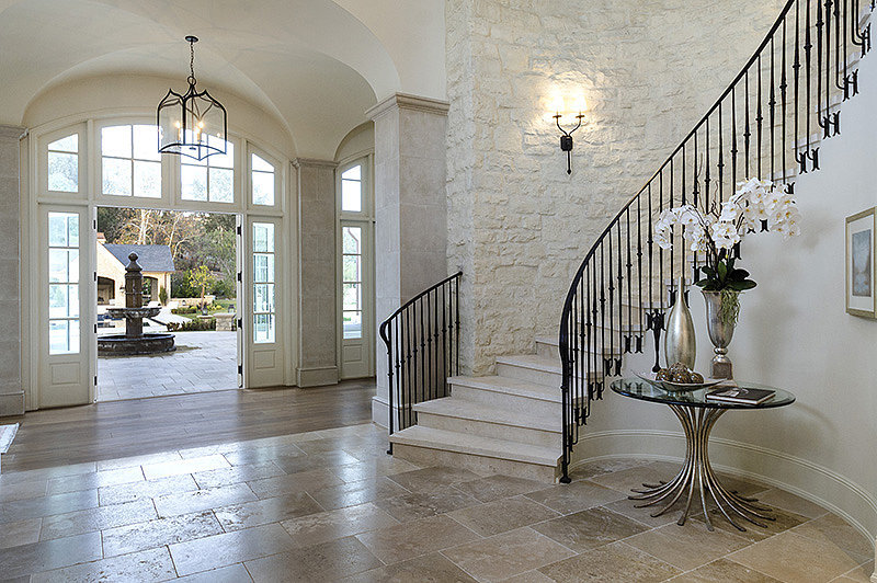 The grand entryway of the estate is fit for Hollywood royalty like the West clan.  Source: Zillow