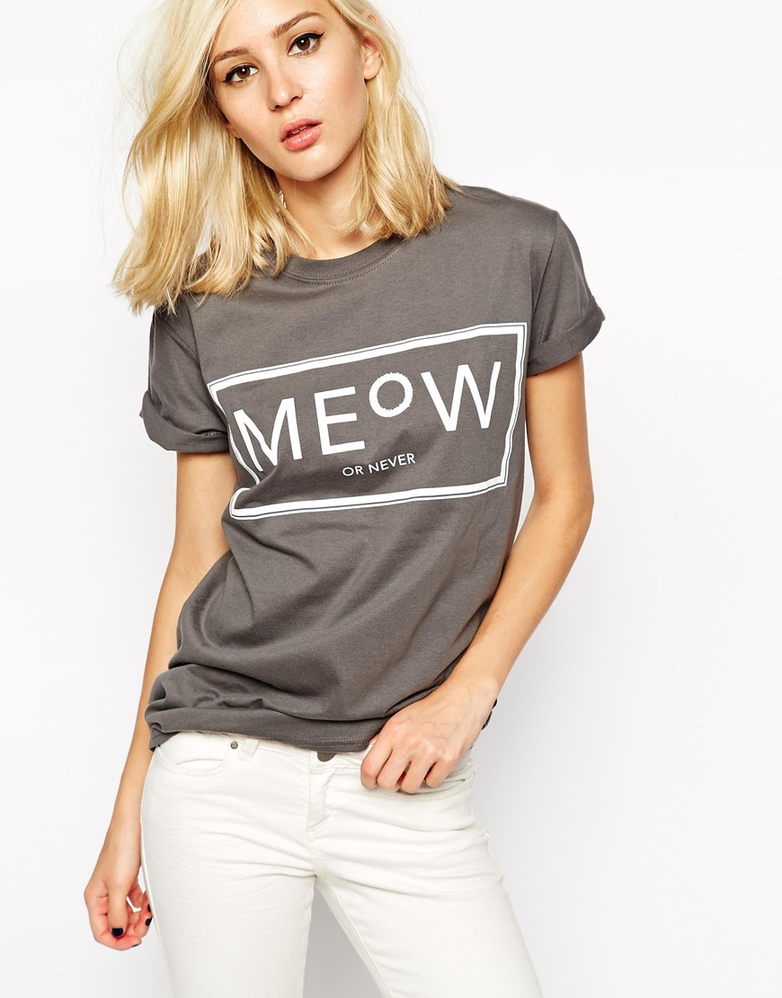 River Island Meow or Never Oversized T-Shirt