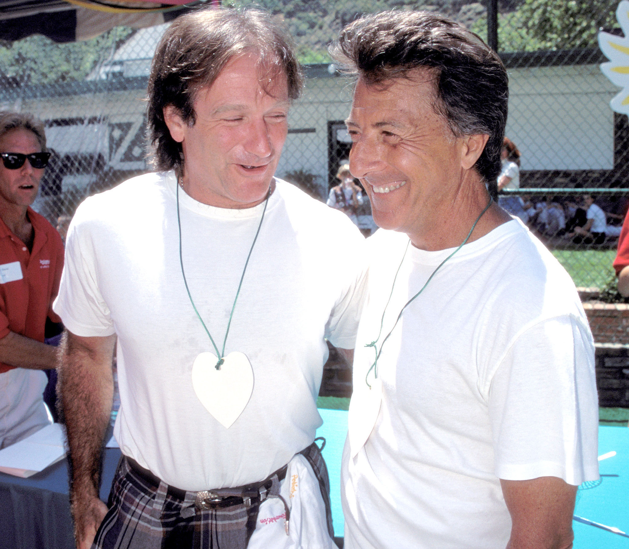 Robin and his Hook costar Dustin Hoffman shared a laugh at the Pediatric Aids Picnic in LA in June 1995.