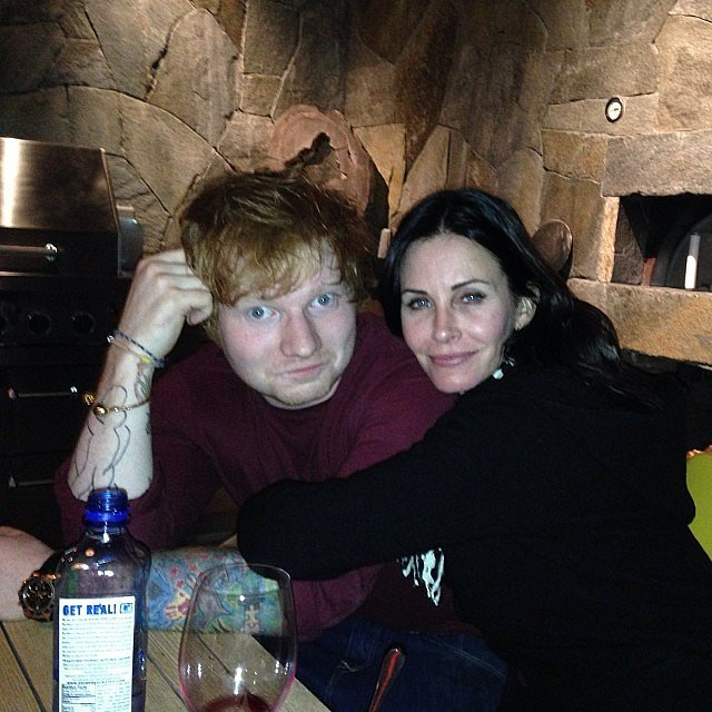 Courteney Cox and Ed Sheeran