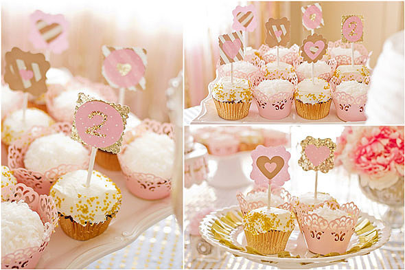 ... pink and gold theme, with wonderful cupcake wrappers and toppers that