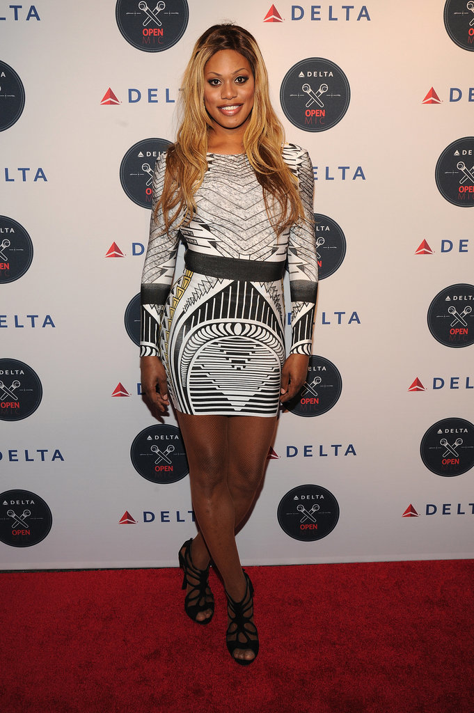 At the Delta Open Mic in NYC, Laverne pulled off an allover print and a pair of strappy heels.